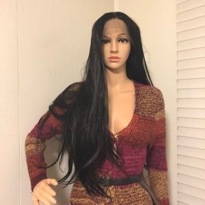 "NWT 30-32"" lace black lace front human blended"